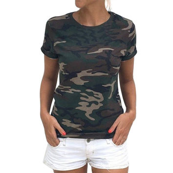 Summer new arrival Women Casual Summer Style Camo Short Sleeve Tops Tee Shirt Fashion Ladies Loose T-shirt