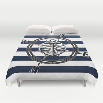 Navy Striped Nautica Duvet Cover by Nicklas Gustafsson
