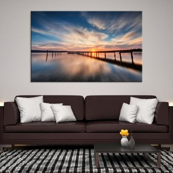 39967 - Wooden Pier on Soft Water and Sunset Wall Art Canvas Print