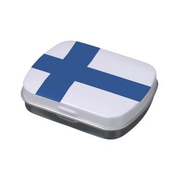 Patriotic candy tins with Flag of Finland