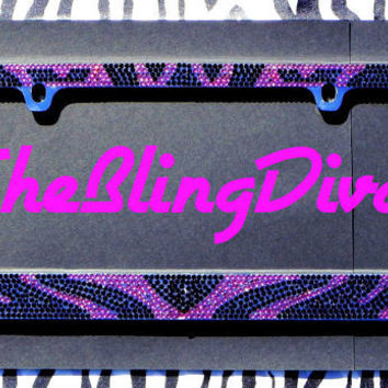 Sparkly Pink and Black Zebra Print Rhinestone Bling Car License Plate Frame 6f2c77dfd