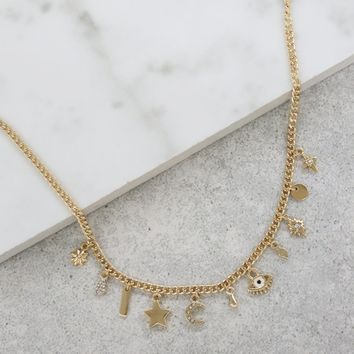 Eye, Moon, and Stars Charm Necklace in Gold