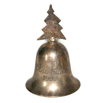 International Silver Company - India - Silver Plated - Christmas Bell - 1990 - Christmas Tree - Silver Plated Bell - Dated 1990 - Christmas