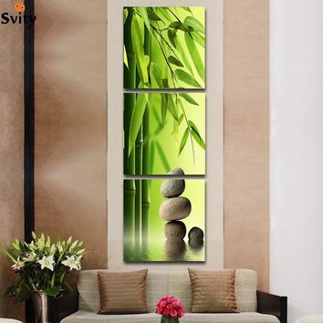 3 Pcs/Set Artist Canvas Still Life painting Bamboo and Stone vertical forms Canvas Prints Wall Pictures for Living Room Picture