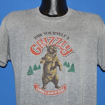 80s Paw Yourself a Grizzly Beer Distressed t-shirt Large