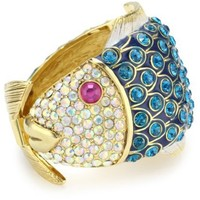 "Betsey Johnson ""Sea Excursion"" Crystal Fish Hinged Bangle Bracelet - designer shoes, handbags, jewelry, watches, and fashion accessories 