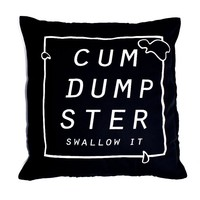 Cum Dumpster Throw Pillow- Blue