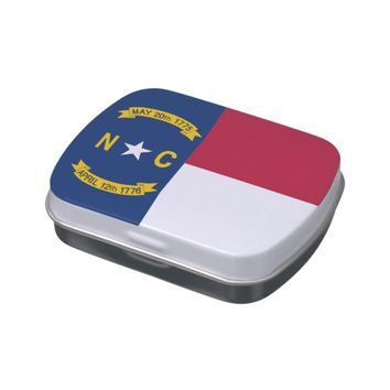 Patriotic candy tins with Flag of North Carolina
