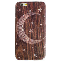 Brown Star Moon Sky Magical Wooden iPhone 6S/ 6 case