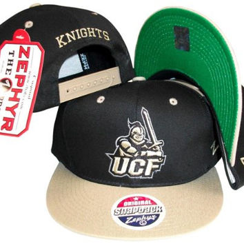 Central Florida Knights Black/Gold Two Tone Plastic Snapback Adjustable Plastic Snap Back Hat / Cap