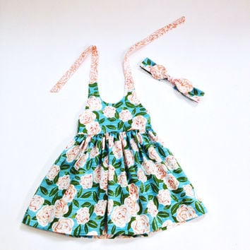 18 to 24 month dress floral halter dress summer dress summer outfit matching girls headband girls halter dress boutique outfit toddler dress