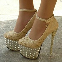 Sexy Platform Pumps Studded Spike Ankle Strappy Glitter High Heels Shoes