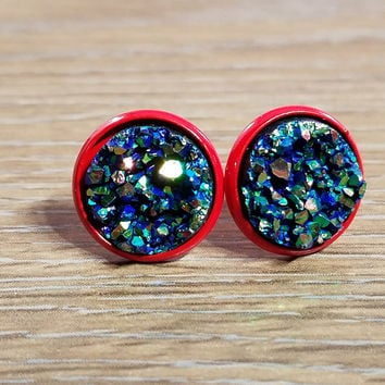 Druzy earrings- Green gold Rainbow drusy - Red stud druzy earrings