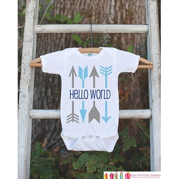 Hello World Onepiece - Hipster Arrow Bodysuit for Newborn Baby Boys - Going Home Outfit - Coming Home Onepiece - Blue Boy Hospital Outfit
