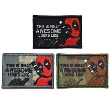 Deadpool Dead pool Taco Camouflage pattern This is What Awesome Looks Like  Parody 2x3 Military Morale Patch badge AT_70_6