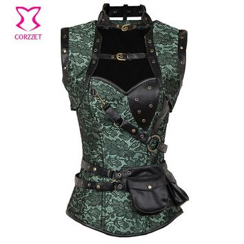 Women Vintage Gothic Corset Steampunk Clothing Armor Bustier With Shoulder Bolero Steel Boned Corset Corpetes Espartilhos