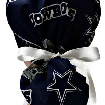 Women's Ponytail Surgical Scrub Hat Cap in Dallas Cowboys Navy