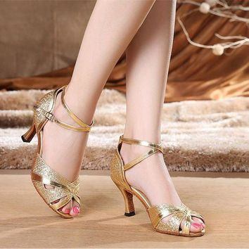 DCK7YE Women's Latin Dance Shoes Customize Heel PU Buckle Ballroom Silver Gold Dancing Shoes