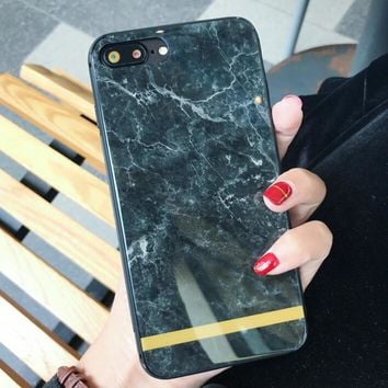 Black Marble Stone Pattern Case for iPhone X 8 7 6S Plus &Gift Box