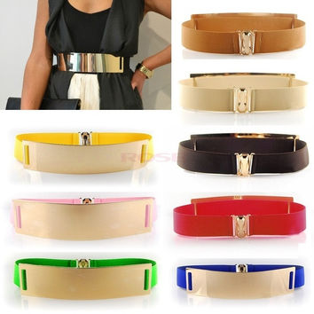 Celebrity Style Women Metal Elastic Mirror face Waist Wide Belt SV001688 Apparel & Accessories = 1651190340