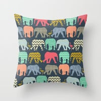 baby elephants and flamingos Throw Pillow by Sharon Turner