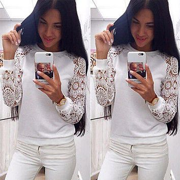 2018 New Lace Hoodies Sweet Casual Sweatshirt  Women Long Sleeve Pullover Knitwear White Female Fall Pullovers Shirts