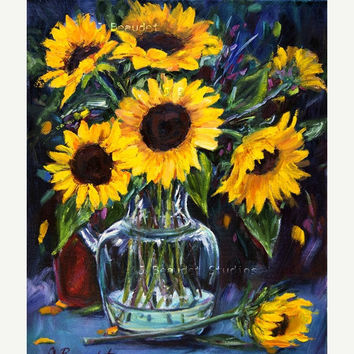 Sunflower Oil Painting Original Art by JBeaudetStudios on Etsy