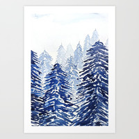 A snowy pine forest Art Print by Color and Color