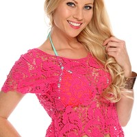 Fuchsia Crochet Short Sleeve Top