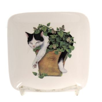 Tabletop CAT ACCENT PLATE Ceramic Feline Dessert Snack Da9452 Planter