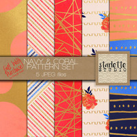 Navy & Coral Digital Paper 5 pack
