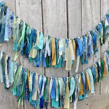 Mermaid Wedding Garland, Peacock Wedding Banner, Tattered Fabric Garland,Under The Sea Party, Photo Prop Backdrop, Teal Blue Garland, Green