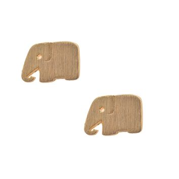 Handcrafted Brushed Metal Lonely Elephant Stud Earrings