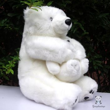 Mother and Baby Polar Bear Stuffed Animal Plush Toy 15""