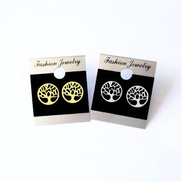 Classic Tree Of Life Earrings Studs Stainless Steel Flower Piercing Round Earrings For Women Handmade Jewelry Gold Silver Color