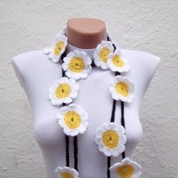 Hand crochet Lariat Scarf Yellow White Black Flower Lariat Scarf Long Necklace Holiday Accessories
