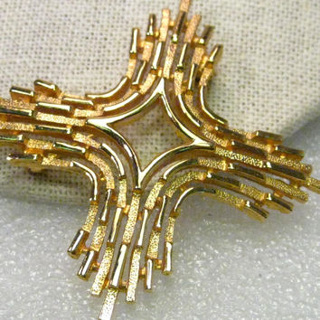 Vintage Crown Trifari Gold Tone Modern Brooch (Maltese Cross theme)  - Open Center, Tiered, Textured & Smooth, 2.5""