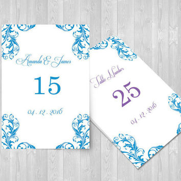 Wedding Table Numbers Template - 4x6 Elegant Malibu Blue Damask Table Card Editable PDF Template - Adobe Reader PDF Format - DIY You Print