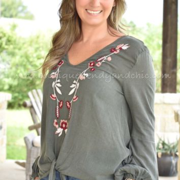 LOVE YOURSELF EMBROIDERY TOP IN OLIVE