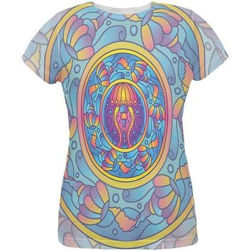 CREYCY8 Mandala Trippy Stained Glass Jellyfish All Over Womens T Shirt