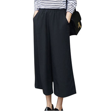 2016 New Fashion Women Pants Sexy Wide Leg Pants Ankle-Length Pants High Waist Plus Size Thin Leisure Ladies Casual Solid