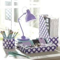 Preppy Paper Desk Accessories - Purple Dottie