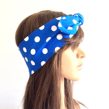 Polka Dot Royal Blue Headband, Bandana, Turban, Women Accessory