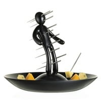 The Ex Skewer Set with Unique Black Holder and Tray Designed By Raffaele Iannello