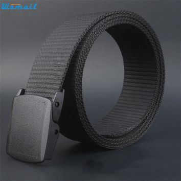 Womail belt Newly Design Men Women Wide Canvas Wasit Belt with Plastic Automatic Buckle Aug7