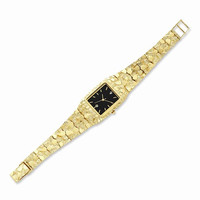 14k Yellow Gold Mens Squared Nugget Watch