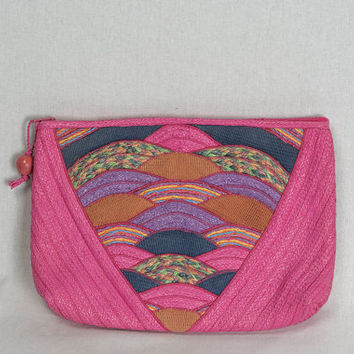 Vintage 1980's Pink Straw Clutch Bag New Wave Pin-up