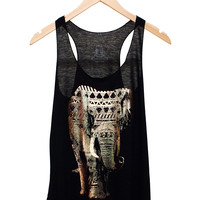 Metallic Elephant Tank in Black