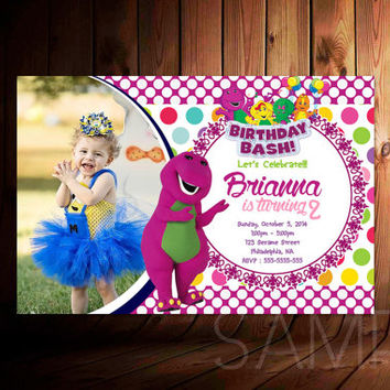 Barney Purple Monster Digital File Design For Birthday Invitation, Party Kids