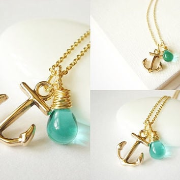 14k Gold Filled Beach Theme Anchor Blue Rain Dainty Everyday Necklace Bridesmaid Necklace Beach Theme Wedding Everyday Necklace